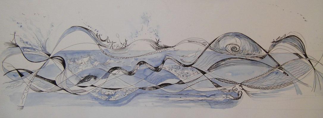 Fließen, Feder, Aquarell, 28 x 60 cm