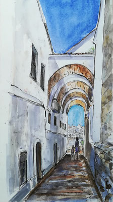 Andalusien,, Aquarell, Feder, 30 x 60 cm