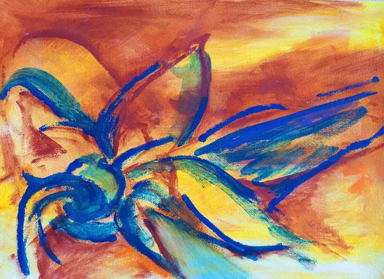 Sonnenblume, Acryl, 40 x 30 cm