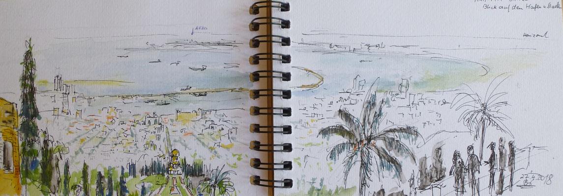 Blick auf Haifa und die gärten der Bahai, Israel, Skizze