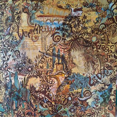 Verehrung, Acryl auf Goldgrund- Leinwand, 50 x 50 cm