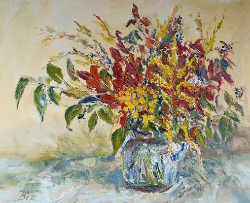 Herbststrauß,  Öl, 60 x 50 cm