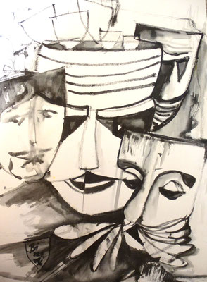 Masken, Pinsel, laviert, 30 x 40 cm
