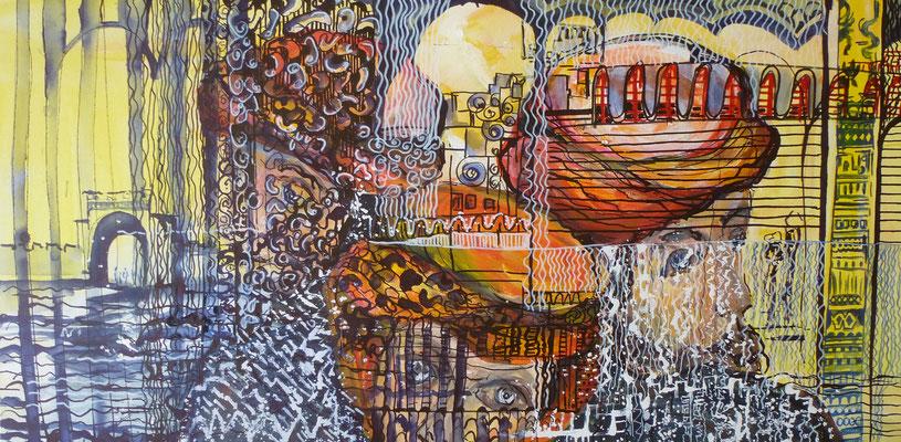Einblick, Acryl, Stifte, 40 x 80 cm
