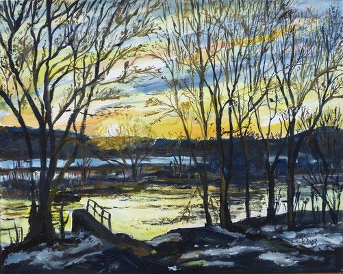 Sonnenaugang in Mönchwinkel im März, 50 x 40 cm
