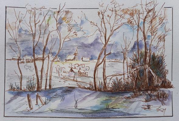 Aquarell, Stifte, 21 x 14 cm