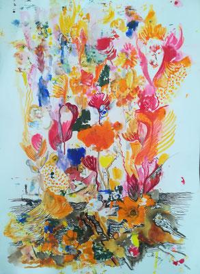 Farbexplosion, Mischtechnik, 30 x 40 cm