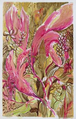 Magnolien auf Goldgrund, Mischtechnik