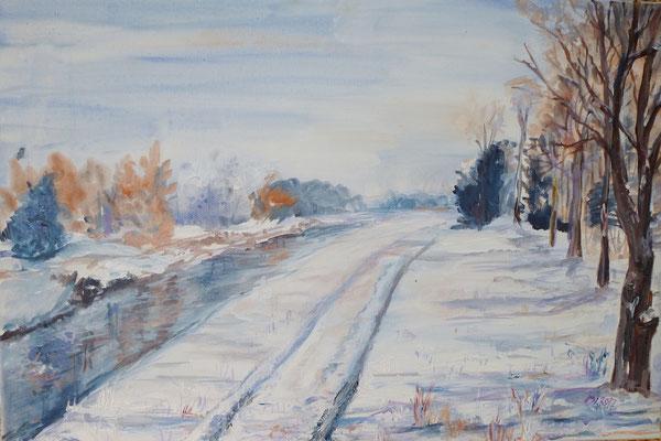 Am Kanal, Acryl, 60 x 40 cm