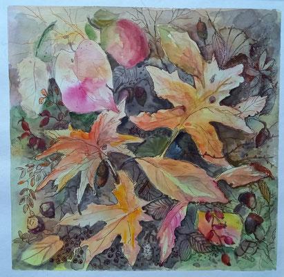 Blätterteppich, Aquarell, Stifte, 30 x 30 cm