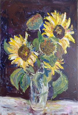 Sonnenblumen, Öl, 40 x 50 cm