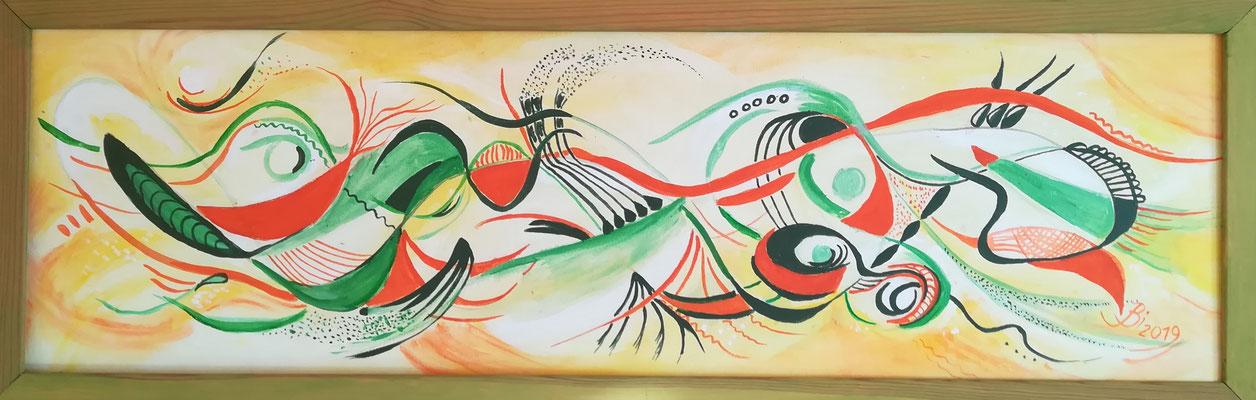Frühling, abstrakt, Acryl, Stifte auf Leinwand, 100 x 30 cm