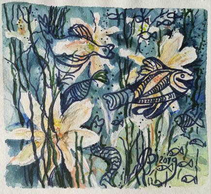 Experiment..,Aquarell, Stifte,  ca. 20 x 20 cm