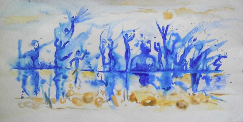 Tanz-Spiegelung; Aquarell, 30 x 60 cm