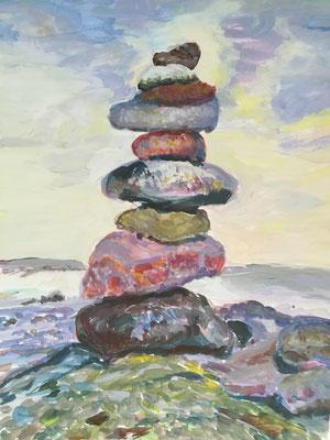 Stein auf Stein, Acryl, 30 x 40 cm