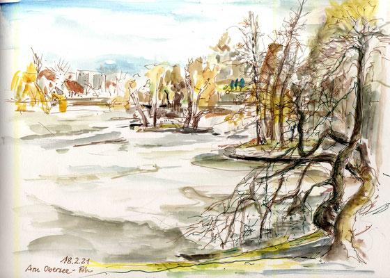 Frühling liegt in der Luft, Aquarell, Stifte, 30 x 20 cm