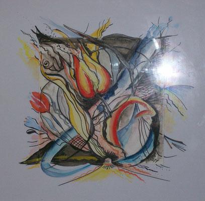 Abstraktes - Aquarell - Feder