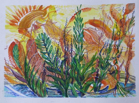 Frühlingsvorbereitung, Aquarell, Stifte, ca 45 x 40 cm