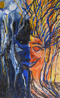 Zwei Seiten von mir, Gipsmaske auf Holz, Acryl, 50 x 32 cm