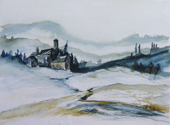 Val de Rose im Winter, Umbrien, Aquarell, ca. 25 x 18 cm