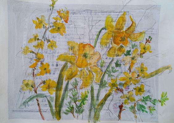 Gelbe Pracht, Aquarell, Stifte auf Collage, 20 x 30 cm