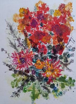 Fantasie im Herbst, Materialdruck, Guache, 36 x 48 cm