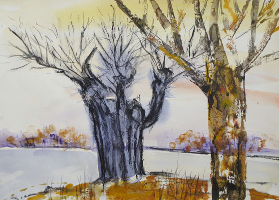 Winter ade, Aquarell, Kartondruck, 40 x 30 cm