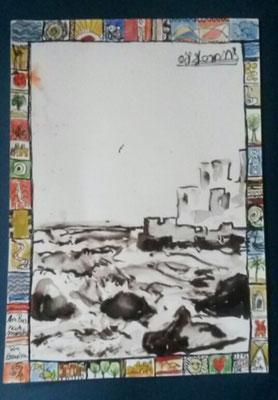 Skizze im Bus von Essaouira, Mischtechnik, 20 x 30 cm