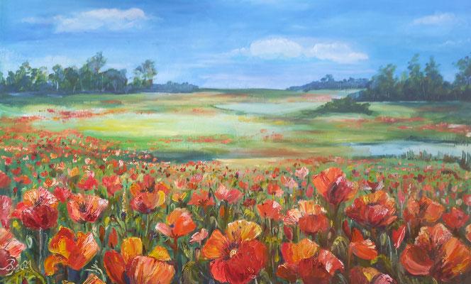 Mohnblumenfeld, Öl auf Leinwand, 100 x 65 cm