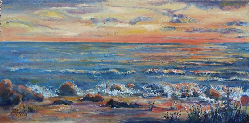 Sonnenuntergang am Meer, Öl,  100 x 50 cm