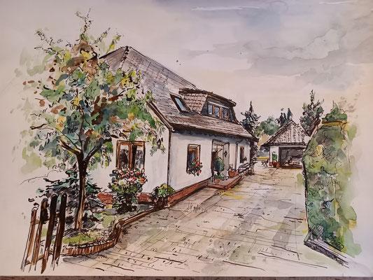 Wohnhaus, Aquarell, Feder, 40 x 30 cm