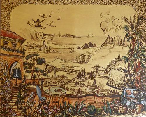 Im Garten der Träume, Acryl auf Goldgrund- Leinwand,  80 x 100 cm