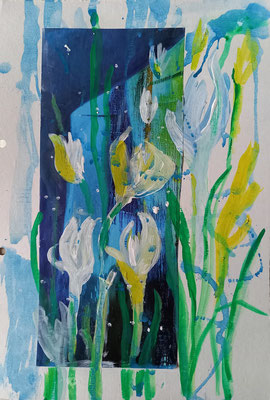 Krokusse, Aquarell, Collage, 20 x  35 cm