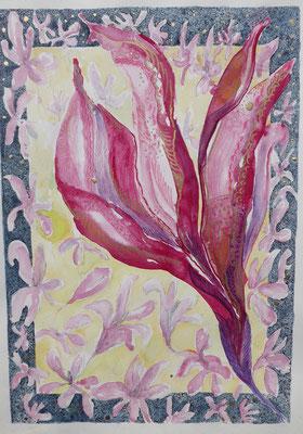 Magnolie 1,  Aquarell, Stifte, 30 x 45 cm