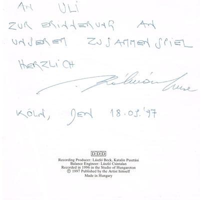 """Photo: Widmung an Uli Schauerte von Imre Kálmán im Booklet von dessen CD """"Music for Cello solo"""""""