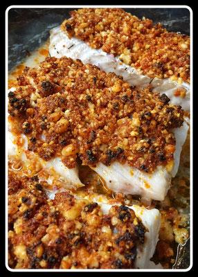 Cabillaud au Crumble Chorizo/Parmesan