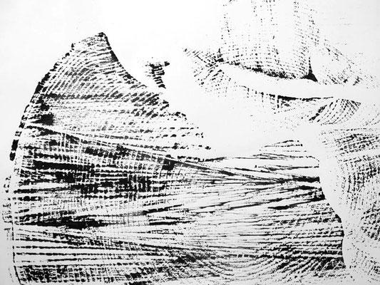 Abdruck ab Baumstumpf   Druck auf Papier  30 x 40 cm