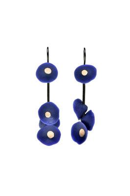 Boucles Coquillages Bleu Ultramarine et or