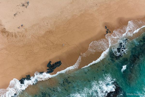 Die Küstenlinie nördlich von Durban vom Microlight-Flieger aus.