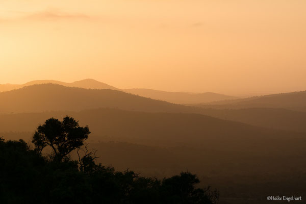 Pastellfarben wirkt die hügelige Landschaft im Hluhluwe Nationalpark.