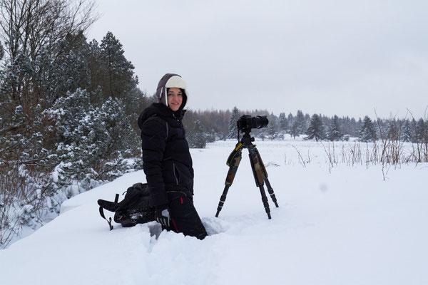 Ja, es lag schon ein bisschen was an Schnee. Man sieht es nicht so genau, aber hier stehe ich. (Foto: Silvia Geiger)