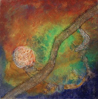 """ Feuerball "", Acryl auf Leinwand 70 x 70 cm, Baumwolltuch, Alufolie, teilweise Leinwand verrostet"