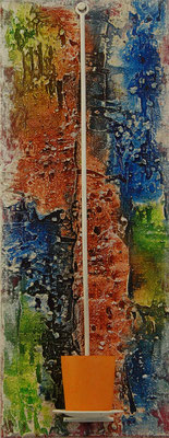 """""""Winterliches Weiß"""", Acryl auf Leinwand 20 x 50 cm, gespachtelt, mit Teelicht"""