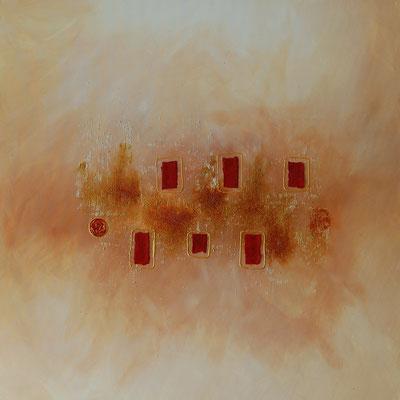 """Gerahmt"", Acryl auf Leinwand, 80 x 80 cm, gespachtelt, handgeschöpftest Büttenpapier, Kronenkorken"