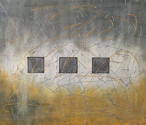 """ Crossing threads"", Acryl auf XL-Leinwand, 50 x 70 cm, leicht gespachtelt, Kaffeemehl"
