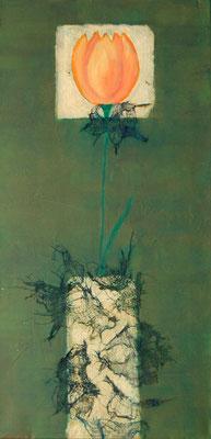 """ Goldene Vase "", Acryl auf Leinwand 30 x 60 cm, Büttenpapier vergoldet, Baumwolltuch"