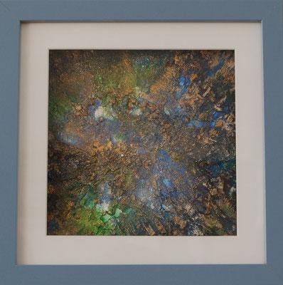 Acryl auf Malkarton, gespachtelt, 20 x 20 cm, mit Rahmen