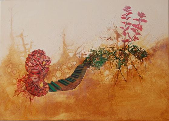 """"""" Symbiose """" Acryl auf Leinwand 70 x 50 cm Baumwolle und Papier         ( verkauft)"""