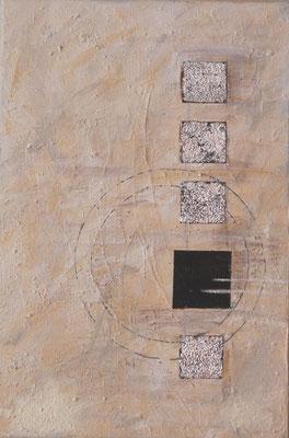 """"""" Kantig trifft rund """" Acryl auf Leinwand 30 x 60 cm Kaffee gespachtelt und versilbert  (verkauft)"""