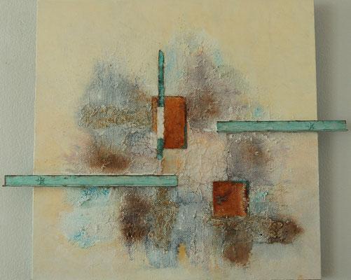 """""""Mix Media"""", Acryl auf XL-Leinwand, 80 x 80 cm, gespachtelt, Torchon-Papier, Schienen und Eisenplatte verrostet (verkauft)"""
